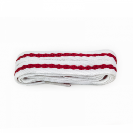 White and Red Stripe Shoelace