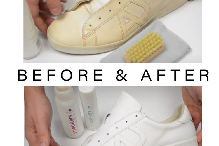 Before and after using Sneaker shampoo