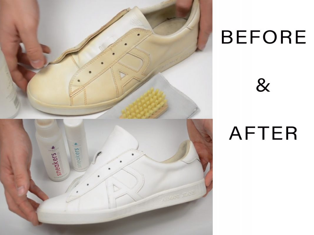 Trainers before and after sneaker shampoo